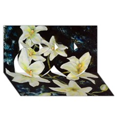 Bright Lilies Twin Hearts 3D Greeting Card (8x4)
