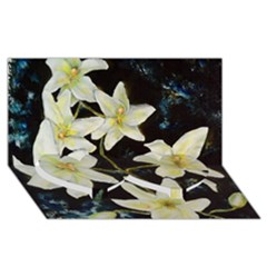 Bright Lilies Twin Heart Bottom 3D Greeting Card (8x4)