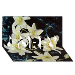 Bright Lilies Sorry 3d Greeting Card (8x4)
