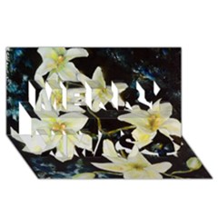 Bright Lilies Merry Xmas 3d Greeting Card (8x4)