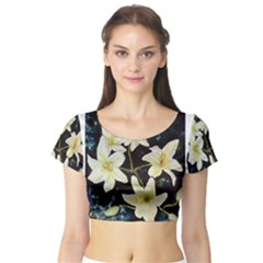 Bright Lilies Short Sleeve Crop Top