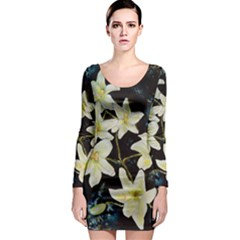 Bright Lilies Long Sleeve Bodycon Dresses