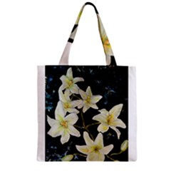 Bright Lilies Zipper Grocery Tote Bags