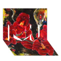 REd Orchids I Love You 3D Greeting Card (7x5)