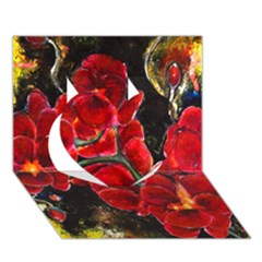 REd Orchids Heart 3D Greeting Card (7x5)