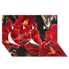 Red Orchids Twin Hearts 3d Greeting Card (8x4)