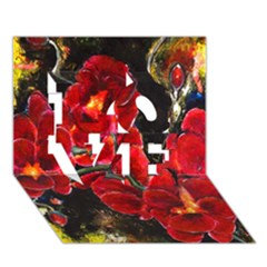 REd Orchids LOVE 3D Greeting Card (7x5)