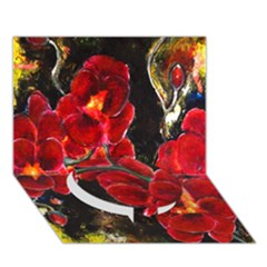 Red Orchids Circle Bottom 3d Greeting Card (7x5)