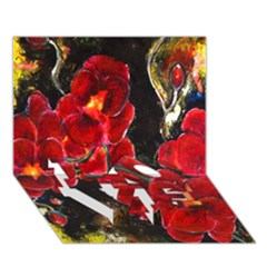 REd Orchids LOVE Bottom 3D Greeting Card (7x5)