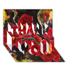 REd Orchids THANK YOU 3D Greeting Card (7x5)