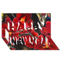 REd Orchids Happy New Year 3D Greeting Card (8x4)