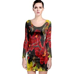 REd Orchids Long Sleeve Bodycon Dresses