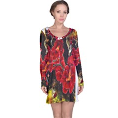REd Orchids Long Sleeve Nightdresses
