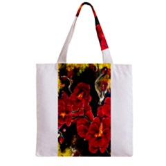 Red Orchids Zipper Grocery Tote Bags