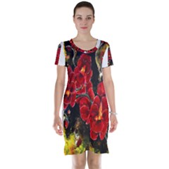 Red Orchids Short Sleeve Nightdresses