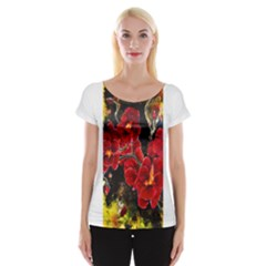 REd Orchids Women s Cap Sleeve Top