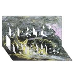 Black Ice Best Wish 3D Greeting Card (8x4)