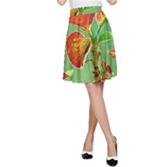 Tropical Floral Print A-Line Skirts