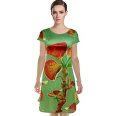 Tropical Floral Print Cap Sleeve Nightdress
