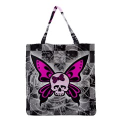 Skull Butterfly Grocery Tote Bags