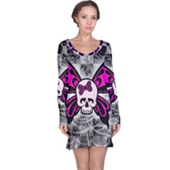 Skull Butterfly Long Sleeve Nightdresses