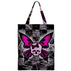 Skull Butterfly Zipper Classic Tote Bags