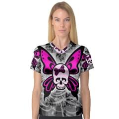 Skull Butterfly Women s V-Neck Sport Mesh Tee