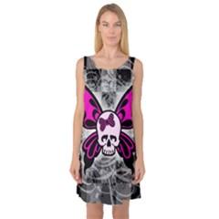 Skull Butterfly Sleeveless Satin Nightdresses