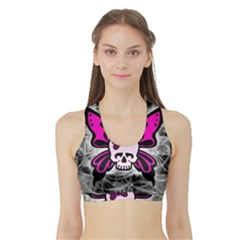 Skull Butterfly Women s Sports Bra with Border