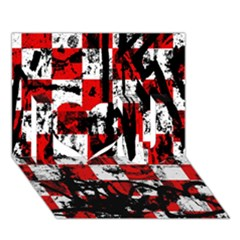 Emo Checker Graffiti I Love You 3d Greeting Card (7x5)