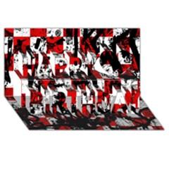 Emo Checker Graffiti Happy Birthday 3D Greeting Card (8x4)