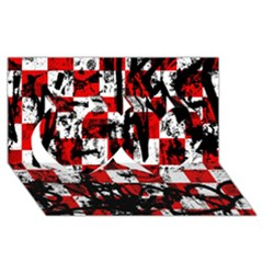 Emo Checker Graffiti Twin Hearts 3D Greeting Card (8x4)