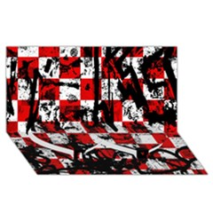 Emo Checker Graffiti Twin Heart Bottom 3D Greeting Card (8x4)
