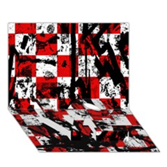 Emo Checker Graffiti LOVE Bottom 3D Greeting Card (7x5)