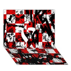 Emo Checker Graffiti Ribbon 3D Greeting Card (7x5)