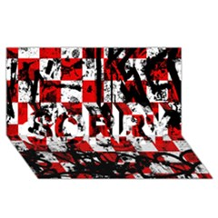 Emo Checker Graffiti SORRY 3D Greeting Card (8x4)