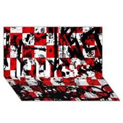 Emo Checker Graffiti HUGS 3D Greeting Card (8x4)