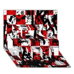 Emo Checker Graffiti Get Well 3D Greeting Card (7x5)
