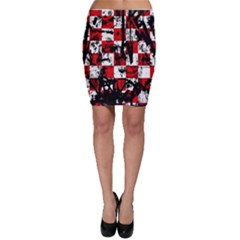 Emo Checker Graffiti Bodycon Skirts