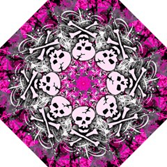Pink Skull Splatter Hook Handle Umbrellas (large)
