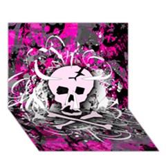 Pink Skull Splatter Clover 3d Greeting Card (7x5)