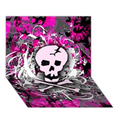 Pink Skull Splatter Circle 3d Greeting Card (7x5)