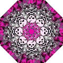 Pink Skull Splatter Hook Handle Umbrellas (Small)