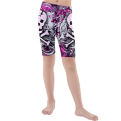 Pink Skull Splatter Kid s swimwear