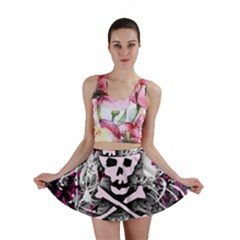 Pink Skull Splatter Mini Skirts