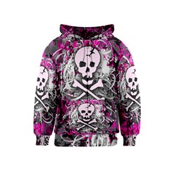 Pink Skull Splatter Kids Zipper Hoodies