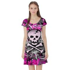 Pink Skull Splatter Short Sleeve Skater Dresses