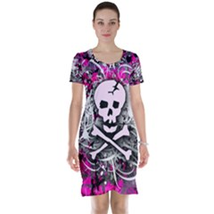 Pink Skull Splatter Short Sleeve Nightdresses