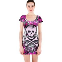 Pink Skull Splatter Short Sleeve Bodycon Dresses