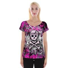 Pink Skull Splatter Women s Cap Sleeve Top
